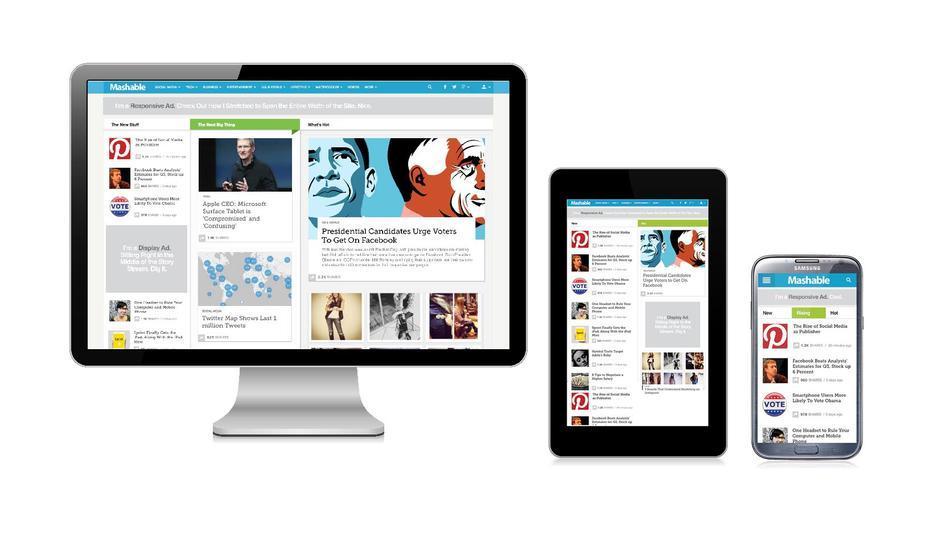 Mashable.com across different devices.